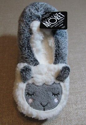Women's Jacques Moret White Faux Fur Lamb Slippers With 3-D Ears~Lined