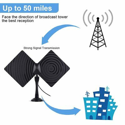 New Amplified Indoor HDTV Digital TV Antenna Amplifier Booster VHF UHF 50 Miles