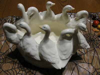 """Gaggle of Geese "" Ceramic Centerpiece Bowl Planter 10 Geese"