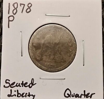 1878-P Seated Liberty Quarter! 90% Silver! Free Shipping!