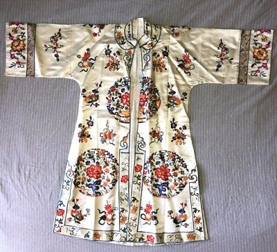 Antique Chinese Silk Embroidered Robe Jacket
