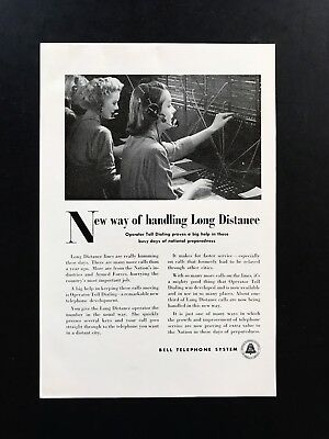 1951 Vintage Print Ad BELL TELEPHONE SYSTEM 50'a Switchboard Operator