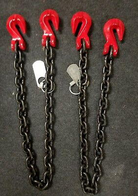 Pair of 9/32 grade 80 alloy chain slings 4ft 3500wll ea towing crane rigging sgg