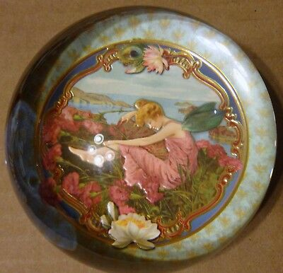 Vintage Glass Dome Paperweight Beautiful Fairy / Art Nouveau Woman with Wings
