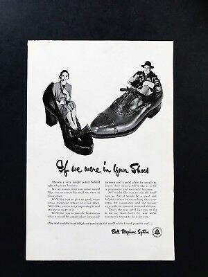 1951 Vintage Print Ad BELL TELEPHONE SYSTEM 50's Operator Giant Shoes