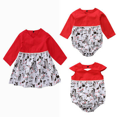 AU Stock Christmas Baby Girl Toddler Kids Deer Romper Dress Party Dress Costume