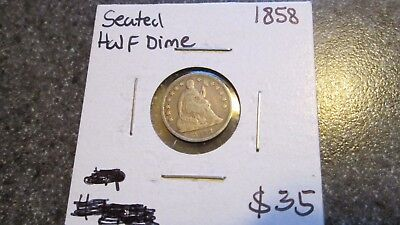 1858 SEATED HALF DIME  in VERY NICE CONDITION, COMBINED SHIPPING