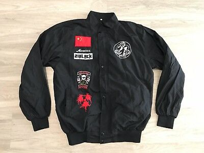 Mens 21 Black Productions Size Large Slayer Black Zip Up Jacket Patches