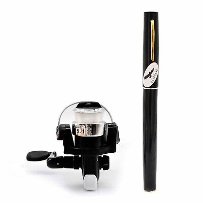 (Black) - PiscatorZone Mini Pocket Pen Fishing Rod Set Carbon Fibre Telescopic