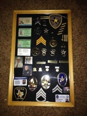 (Oak Finish) - LARGE Pin Medal Display Case Shadow Box Display Case, with