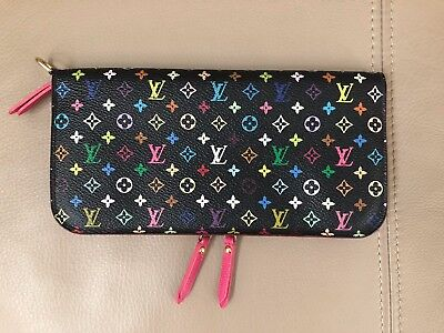 Authentic Louis Vuitton Multi color Black Portefeuille Insolite Long Wallet