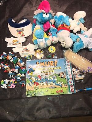 Lot Of Original Vintage Smurf Collectibles Peyo Wallace Berrie Schleich Ornament