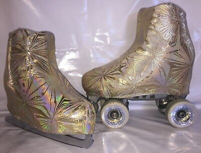 Gold Kaleidoscope  Boot Covers for RollerSkates and Ice Skates  S,M,L