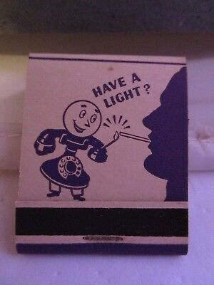 1940s NEW Old Stock Indiana Bell Telephone System Matchbook WWII