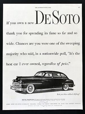 1947 Vintage Print Ad DESOTO Black Car Automobile Image 40's Chrysler