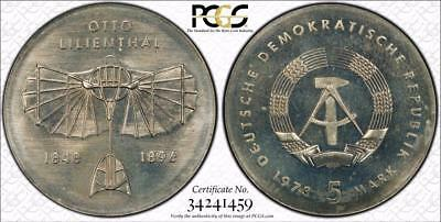 East Germany 1973 5 Mark, Otto Lilienthal, PCGS MS67
