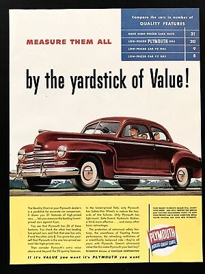 1947 Vintage Print Ad PLYMOUTH Red Car Illustration 40's Automobile