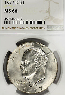 1977-D MS66 Eisenhower Clad Dollar $1 Ike graded by NGC, Superb