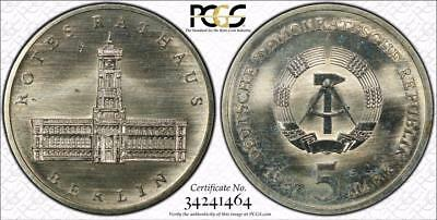 East Germany 1987-A 5 Mark, Red City Hall, PCGS MS66