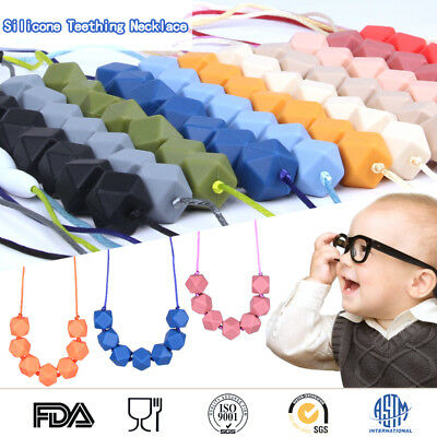 Hexagon Silicone Teething Beads Necklace Baby Chewing Sensory Jewelry BPA Free