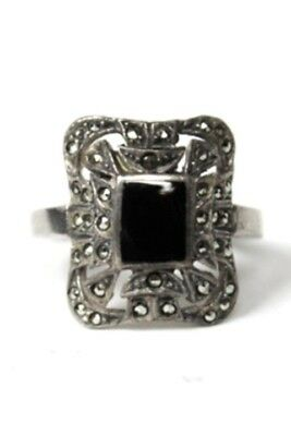 Vintage Antique Marcasite Onyx Sterling Silver Rectangular Ring Sz 7 PreOwned