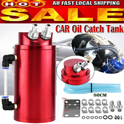 PRO Universal Car Racing Engine Oil Catch Tank Can Reservoir Red Round + Hose AU