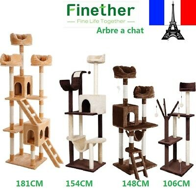 106/148/154/181CM de haut Arbre à chat Griffoir Playhouse de chaton pour Chat
