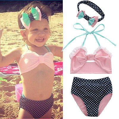 AU Kids Baby Girl Bikini Set Lace Dot Swimwear Swimsuit Bathing Suit Clothing