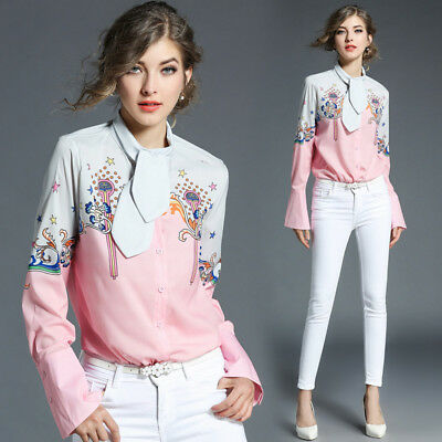 17 autumn women's new style fashion temperament stand collar loose printed shirt