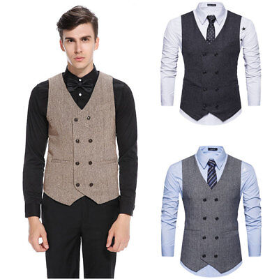 Mens Formal Business Suit Waistcoat  Retro Vest Slim Wedding Casual Coat Tops
