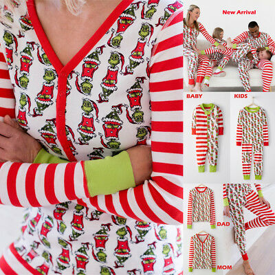 AU Cartoon Christmas Family Matching Pajamas Adult Women Kids Baby Sleepwear Set