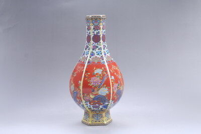 Exquisite painting flower&bird cloisonne porcelain Vase YONGZHENG mark hp305