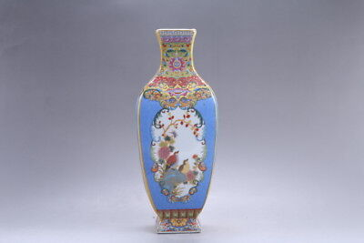 Exquisite Chinese painting flower cloisonne porcelain Vase YONGZHENG mark hp315