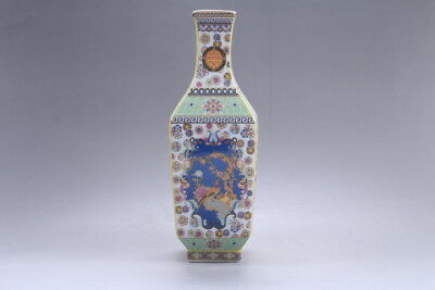 Exquisite Chinese painting flower cloisonne porcelain Vase YONGZHENG mark hp317