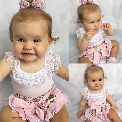 2PCS Kids Baby Girl Lace Tops T-shirt+Ruffles Floral Shorts Outfits Set