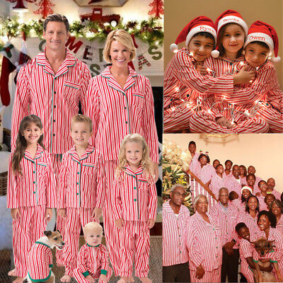 US Seller Family Matching Christmas Pajamas Set Women Kids Sleepwear Nightwear