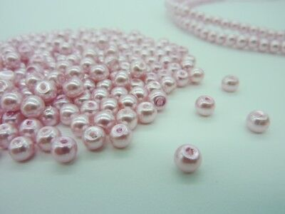 400 pce Pearlized Pink Round Glass Pearl Beads 4mm Jewellery Making Craft