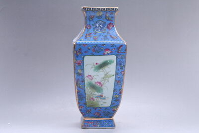 Exquisite Chinese painting Lotus cloisonne porcelain Vase qianlong mark hp308