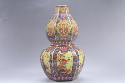 Exquisite Chinese painting flower cloisonne porcelain Vase YONGZHENG mark hp310