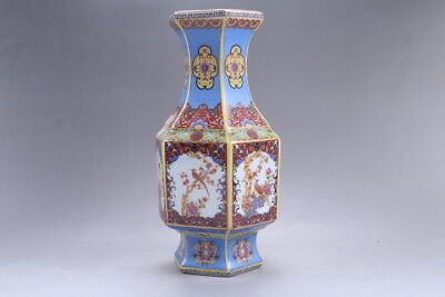 Exquisite Chinese painting flower cloisonne porcelain Vase YONGZHENG mark hp330
