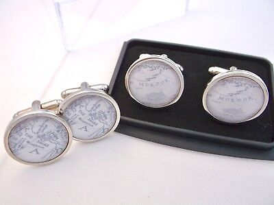 The Shire Mordor Map Atlas Lord Of The Rings World Badge Mens Cufflinks Gift