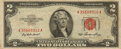 1953 $2 United States Note, Red Seal, Circulated Medium to High Grade (Z-219)