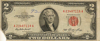 1953 $2 United States Note, Red Seal, Circulated Medium to High Grade (Z-182)