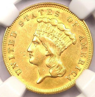 1868 Three Dollar Indian Gold Piece $3 - Certified NGC AU Details - Rare Date!