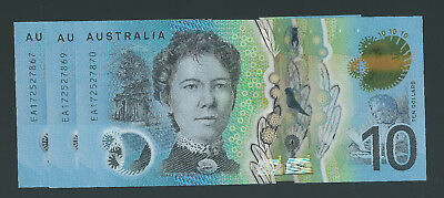 2017 $10 Uncirculated Last Prefix Ea Note Lowe Fraser Consecutive Run Of 3