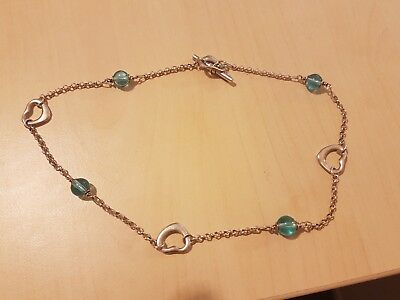 sterling silver chain blue bead and heart cam be bracelet or choker from prouds
