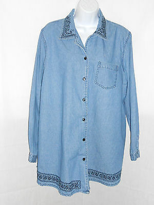 Kathy Ireland Embroidered Cotton Denim Long Sleeve L Casual Maternity Blouse