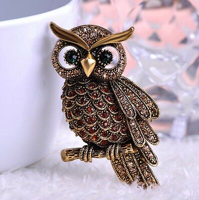large vintage antique style austrian owl brooch crystal green eyes gift boxed.
