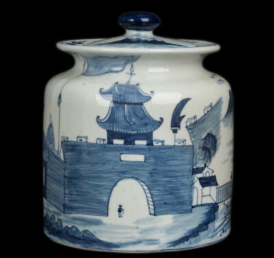 China 20. Jh. Deckeltopf -A Chinese Blue & White Jar Ruo shen zhen cang Chinois