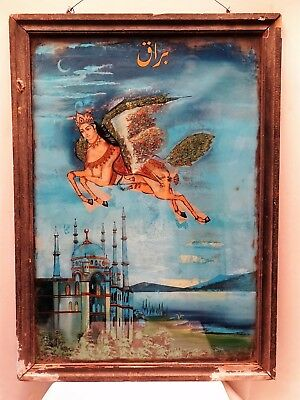 Islamic Antique Glass Painting Prophet Mohammad Burak Horse Isra And Mi'raj Coll
